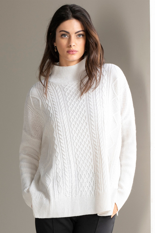 Grace Hill Cable Knit High Neck Jumper