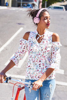 Urban Floral Cold Shoulder Top