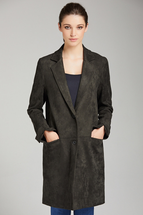 Suedette Panel Coat