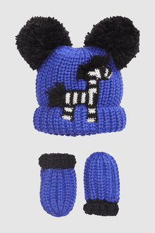 Next Zebra Hat And Mitts Set (Younger)
