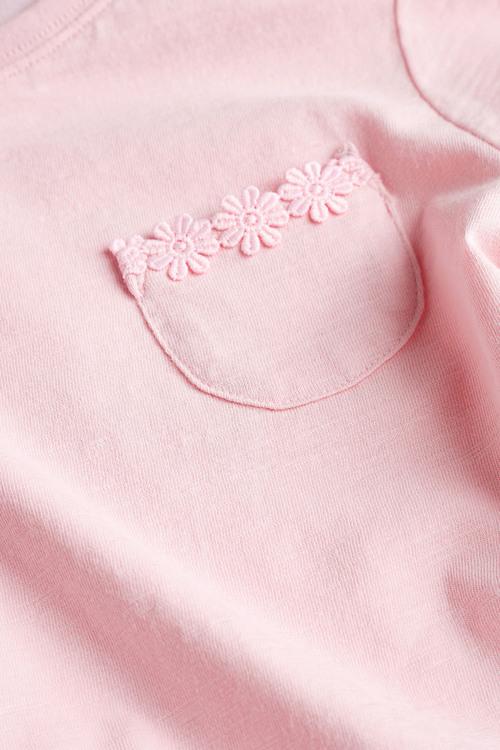Next Short Sleeve Daisy Trim T-Shirt (3-16yrs)