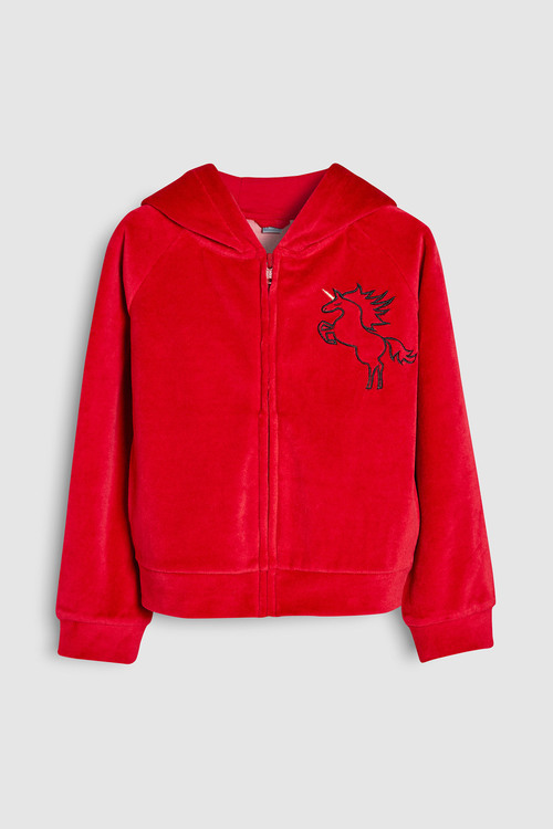 Next Unicorn Velour Zip Through Hoody (3-16yrs)