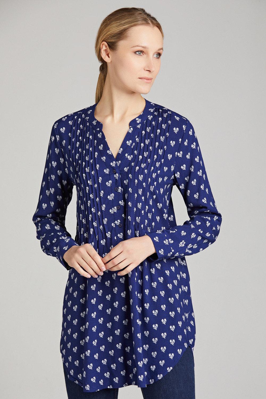 Navy Blue Point Collar Viscose Plus Size Tunic