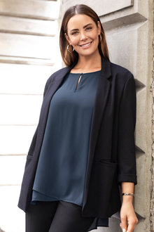 Plus Size - Sara Roll Cuff Jacket