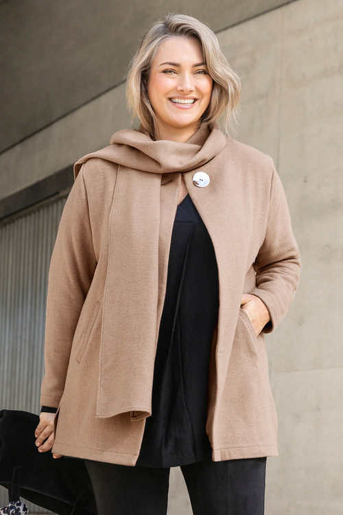 Plus Size - Sara Scarf Tie Coat