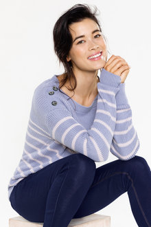 Capture Button Detail Breton Stripe Jumper - 222809