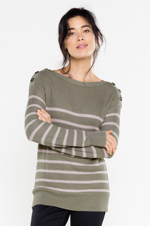 Capture Button Detail Breton Stripe Jumper