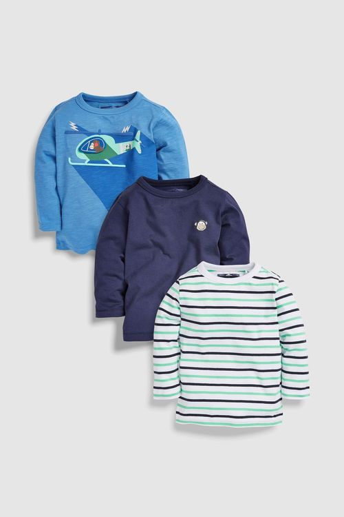 Next Long Sleeve Helicopter T-Shirts Three Pack (3mths-6yrs)