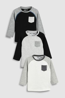 Next Long Sleeve Cosy T-Shirts Three Pack (3mths-6yrs)
