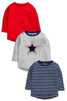 Next Rainbow Star Long Sleeve T-Shirts Three Pack (3mths-6yrs)