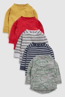 Next Long Sleeve Dinosaur T-Shirt Five Pack (3mths-6yrs)