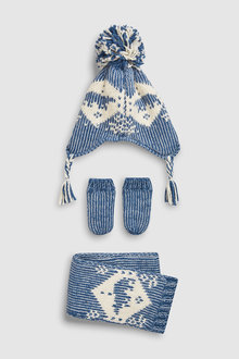 Next Pattern Inca Hat, Scarf And Mittens Three Piece Set (Younger)