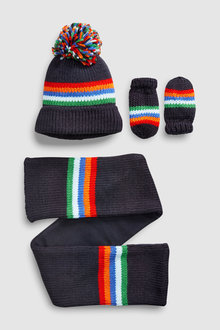 Next Rainbow Stripe Hat, Gloves And Scarf Set (Younger)