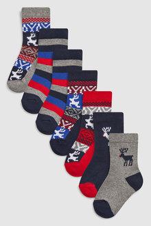 Next Reindeer Socks Seven Pack (Younger)