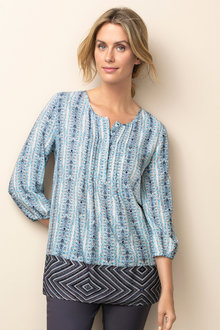 Capture Pintuck Longline Border Print Top