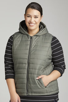 Plus Size - Sara Hooded Puffer Vest - 222915
