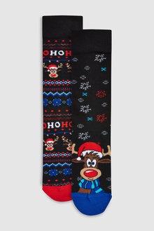 Next Rudolph Pattern Socks Two Pack