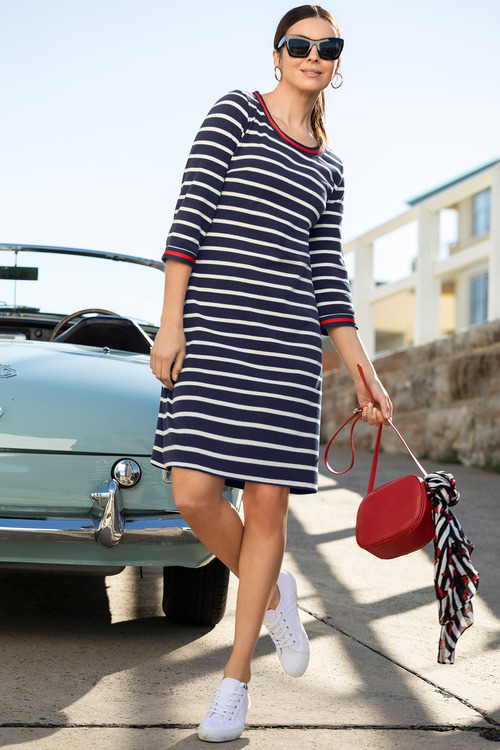 Capture Stripe 3/4 Sleeve Shift Dress