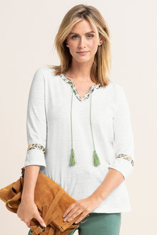 Capture Notch Neck Tassel Trim Tee