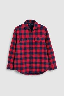 Next Long Sleeve Buffalo Check Jersey Lined Shirt (3-16yrs)