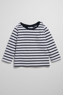 Pumpkin Patch Stripe Long Sleeve Tee with Pocket - 223067