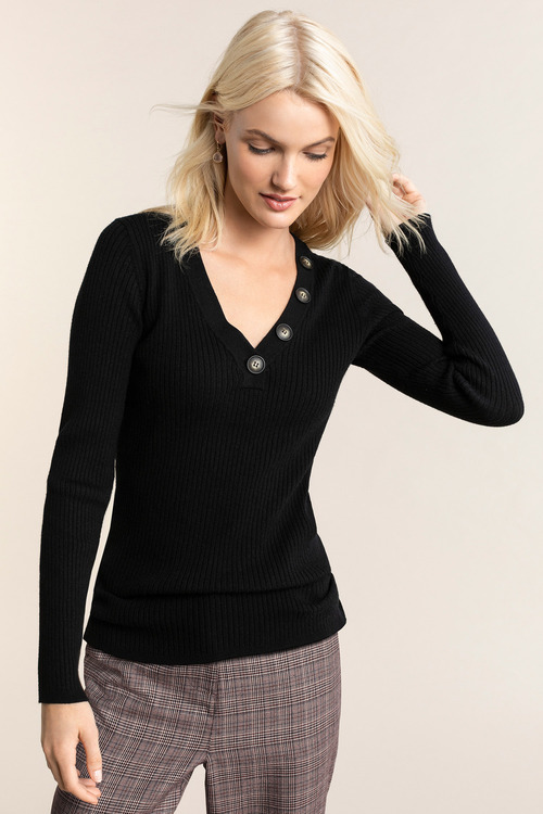 Emerge Button Neck Rib Long Sleeve Sweater