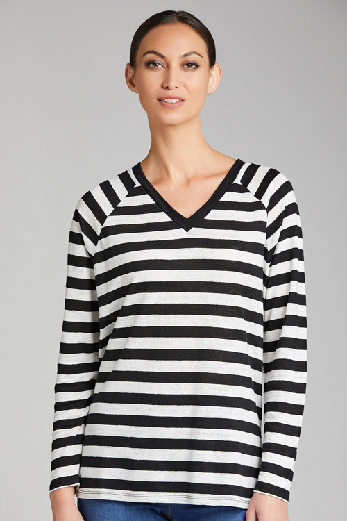 Emerge Linen V Neck Long Sleeve Tee