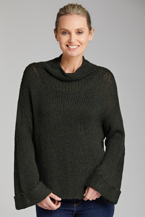 Emerge High Neck Wide Sleeve Sweater