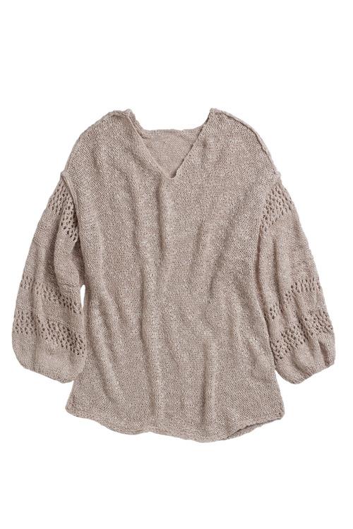 Emerge Crochet Sleeve V Neck Sweater