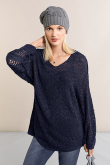Emerge Crochet Sleeve V Neck Sweater - 223077