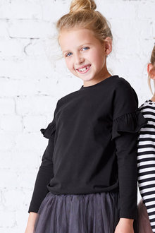 Pumpkin Patch Long Sleeve Top with Arm Ruffles