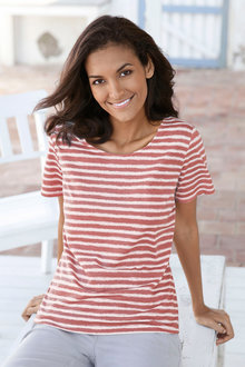Capture European Stripe Print Tee Shirt