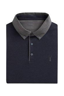 Next Long Sleeve Woven Collar Polo