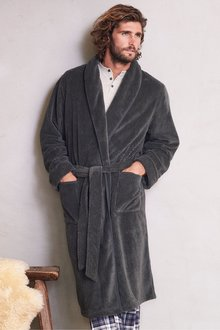 Next Herringbone Pattern Fleece Robe