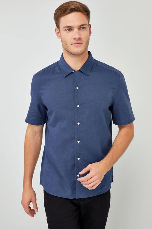 Next Short Sleeve Linen Blend Revere Shirt