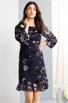 Grace Hill Ruffle Hem Burnout Dress - 223283