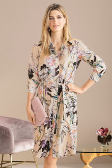 Grace Hill Layered Long Sleeve Shirt Dress - 223285