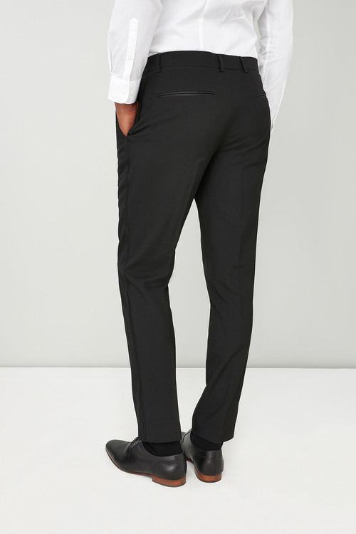 Next Wool Blend Tuxedo Suit: Trousers - Skinny Fit