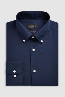 Next Signature Egyptian Cotton Stretch Button Down Shirt