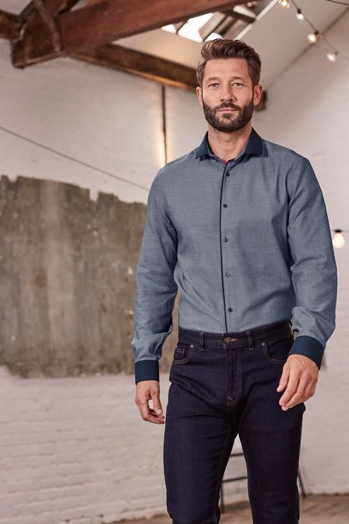 Next Contrast Collar Shirt