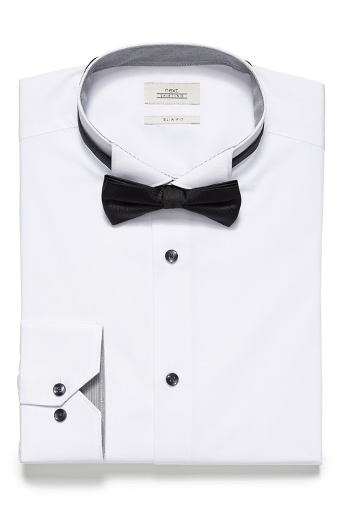 Next Wing Collar Shirt And Bow Tie Set - Skinny Fit Single Cuff