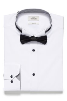 Next Wing Collar Shirt And Bow Tie Set - Skinny Fit Single Cuff - 223345