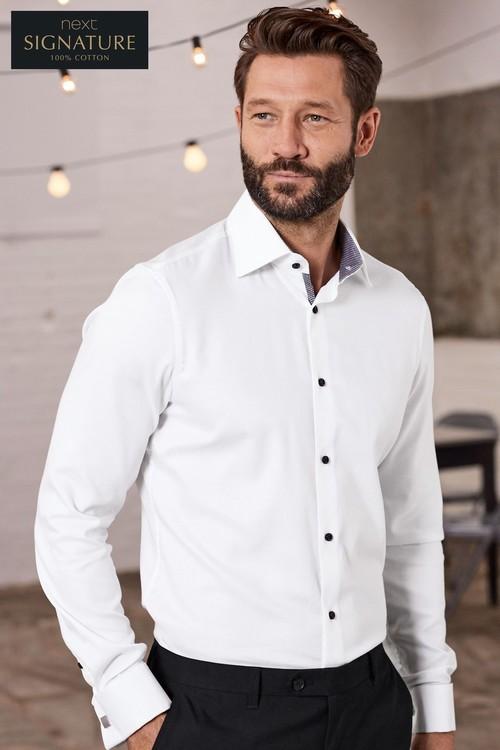 Next Signature Textured Shirt - Slim Fit Single Cuff