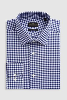 Next Signature Gingham Regular Fit Shirt - Slim Fit Single Cuff
