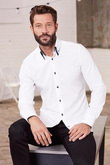 Next Double Collar Shirt - Slim Fit Single Cuff
