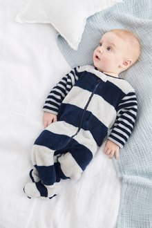 Next Stripe Fleece Sleepsuit (0mths-3yrs)