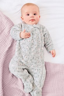 Next Leopard Print Fleece Sleepsuit (0mths-3yrs)