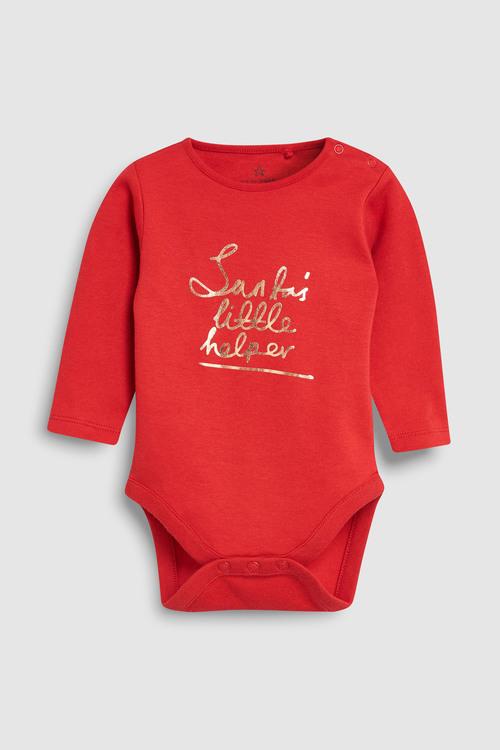 Next Santa's Little Helper Long Sleeve Bodysuit (0mths-2yrs)