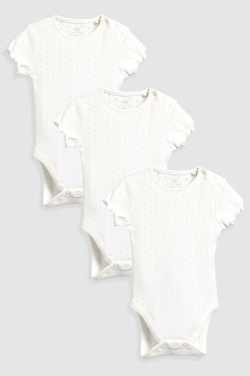 Next Pointelle Short Sleeve Bodysuits Three Pack (0mths-2yrs)