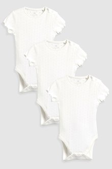 Next Pointelle Short Sleeve Bodysuits Three Pack (0mths-2yrs)